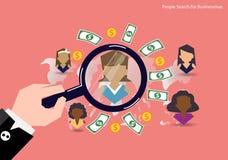 Het vectorconcept van onderzoekmensen mens vond financiën Vlak Ontwerp stock illustratie