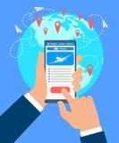 Het Vectorconcept van zakenmanbooking flight tickets royalty-vrije illustratie