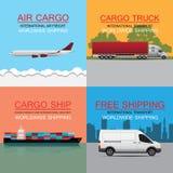 het vectorconcept wereldwijd van het ladingsvervoer Royalty-vrije Stock Afbeeldingen