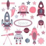 Het vectordiebeeldverhaal met vlakke spaceships, planeten, satellieten wordt geplaatst stock illustratie
