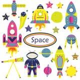 Het vectordiebeeldverhaal met vlakke spaceships, planeten, satellieten wordt geplaatst vector illustratie
