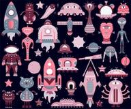 Het vectordiebeeldverhaal met vlakke vreemdelingen, spaceships, planeten wordt geplaatst vector illustratie