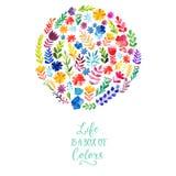 Het vectordieontwerp van de waterverfcirkel van bloemen wordt gemaakt Botanische decoratie, het van letters voorzien Bloemenkaart Royalty-vrije Stock Foto's