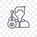 Het vectordiepictogram van de gitaarspeler op transparante achtergrond, Li wordt geïsoleerd royalty-vrije illustratie
