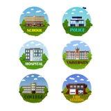 Het vectordiepictogram van stadsgebouwen in vlakke stijl wordt geplaatst Ontwerpelementen en emblemen Stock Afbeelding