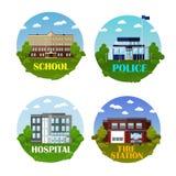 Het vectordiepictogram van stadsgebouwen in vlakke stijl wordt geplaatst Ontwerpelementen en emblemen School, politieafdeling, he Stock Fotografie