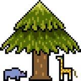 Het vectordier van de pixelkunst onder boom Stock Foto