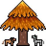 Het vectordier van de pixelkunst onder boom Royalty-vrije Stock Fotografie