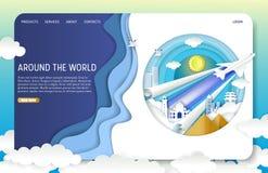 Het vectordocument malplaatje van de het landingspaginawebsite van de besnoeiingsreis royalty-vrije illustratie