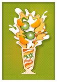 Het vectordocument sneed tropische fruitmilkshake vector illustratie