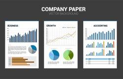 Het vectordocument van het Bedrijfdocument met veelvoudige grafiek royalty-vrije illustratie