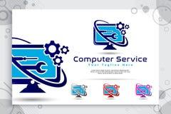 Het vectorembleem van de computerdienst met eenvoudige conceptontwerpen, illustratie van monitor, radertje, en moersleutel als sy royalty-vrije illustratie