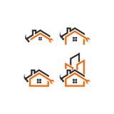 Het vectorembleem van de huisreparatie Stock Foto's