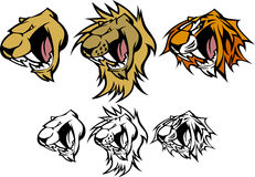 Het VectorEmbleem van de Mascotte van de Poema van de Leeuw van de tijger Stock Afbeeldingen