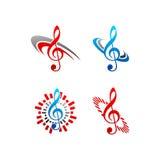 Het vectorembleem van de muzieknota Stock Afbeeldingen