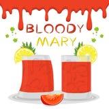 Het vectorembleem van de pictogramillustratie voor alcoholcocktails bloedige Mary royalty-vrije illustratie