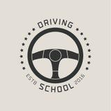 Het vectorembleem van de rijbewijsschool, teken, embleem vector illustratie