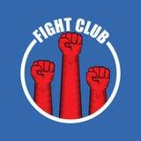Het vectorembleem van de strijdclub met rode die mensenvuist op blauwe achtergrond wordt geïsoleerd Het MMA Gemengde malplaatje v Stock Fotografie