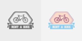 Het vectorembleem van fietshuren, etiket of kentekenontwerp Stock Fotografie