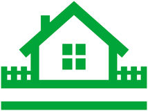 Het vectorembleem van het plattelandshuisje stock illustratie
