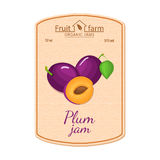 Het vectoretiket van de pruimjam Samenstelling van purpere pruimenvruchten Ontwerp van een sticker voor een kruik met pruimjam, f Royalty-vrije Stock Foto
