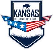 Het vectoretiket van Kansas met de bizon van zubrbuffels Royalty-vrije Stock Fotografie