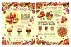 Het vectorfastfood van het straatvoedsel menu van de snacksschets Stock Foto's