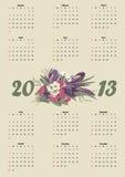 Het vectorformaat van de kalender 2013 Stock Afbeelding