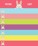 Het vectorformaat van het ontwerpnotitieboekje Banner met konijntjes Stock Afbeelding
