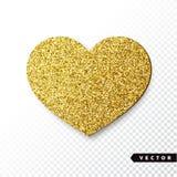 Het vectorgoud fonkelt hart Royalty-vrije Stock Fotografie