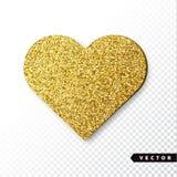 Het vectorgoud fonkelt hart Stock Afbeeldingen