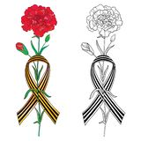 Het vectorgroetmalplaatje voor 9 Mei Victory Day met bloem van de overzichts de rode Anjer en gestreept lint van Heilige George i vector illustratie