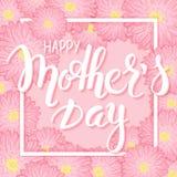 Het vectorhand getrokken moedersdag van letters voorzien met kader, roze chrysant bloeit en 3d citaat - gelukkige moedersdag Kan  Stock Foto