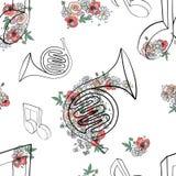 Het vectorhand getrokken naadloze patroon, grafische illustratie van Franse hoorn met bloemen, verlaat Schetstekening, krabbelsti royalty-vrije illustratie