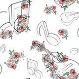 Het vectorhand getrokken naadloze patroon, grafische illustratie van gitaar met bloemen, verlaat Schetstekening, krabbelstijl art royalty-vrije illustratie