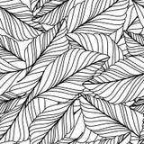 Het vectorhand getrokken naadloze patroon van krabbelbladeren De abstracte herfst royalty-vrije illustratie