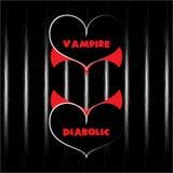 Het vectorhart van de valentijnskaartenvampier met kraag en duivels hart met hoornen die een derde hart vormen Stock Afbeeldingen
