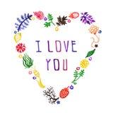 Het vectorhart van de waterverfaard met bloemen, bessen en installaties en tekst I Liefde u (multicolored) Perfectioneer voor uit Stock Afbeelding