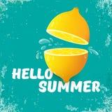 Het vectorhello-van de de Partijvlieger van het de Zomerstrand het Ontwerpmalplaatje met verse citroen isoleerde op azuurblauw of stock illustratie