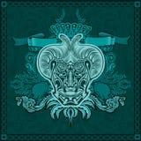 Het vectorhoofd van de ontwerpduivel met patern t-shirtstijl Royalty-vrije Stock Afbeeldingen