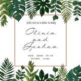 Het vectorhuwelijk nodigt uitnodiging sparen het ontwerp van de datum bloemenkaart uit De groene varen, bos verlaat kruiden, de m vector illustratie