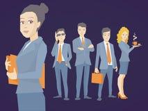 Het vectorillustratieportret van een vrouwenmanager houdt een omslag w royalty-vrije stock afbeeldingen