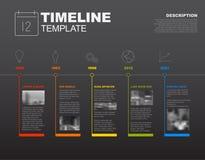 Het vectorinfographic-malplaatje van het chronologierapport Stock Fotografie