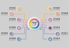 Het vectorinfographics-Ontwerp van het Elementenmalplaatje met optiesstappen De Chronologie van de bedrijfsgegevensvisualisatie m vector illustratie