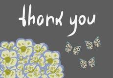 Het vectorkader met orchideeën, de vlinders en het teken 'danken u ' stock illustratie