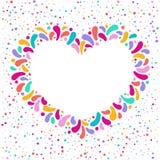 Het vectorkader van het vakantiehart met ornament van veelkleurige dalingen Voor Carnaval-ontwerp, festivallen, thema's van liefd vector illustratie