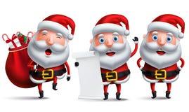Het vectorkarakter van de Kerstman - vastgestelde de wenslijst van holdingskerstmis royalty-vrije illustratie