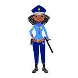 Het vectorkarakter van de politievrouw vector illustratie