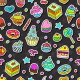 Het vectorkrabbel naadloze patroon met bakt en snoepjes Stock Afbeelding