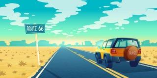 Het vectorlandschap van de beeldverhaalwoestijn met weg vector illustratie